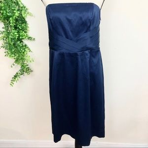 Banana Republic Navy Satin Strapless Pleated Dress